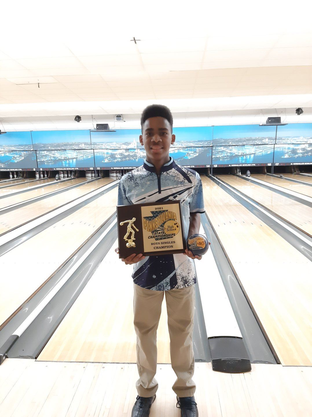 Alex Horton poses at the state bowling championship.